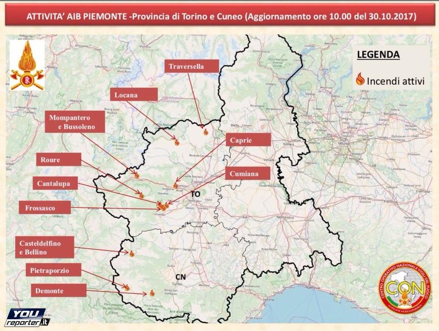 Cartina Piemonte Torino.Situazione Incendi Piemonte E Lombardia Con La Cartina Vvff Youreporter