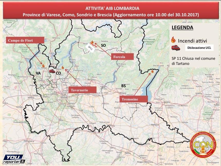 Cartina Lombardia E Piemonte.Situazione Incendi Piemonte E Lombardia Con La Cartina Vvff Youreporter